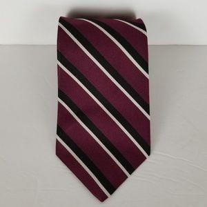 Brooks Brothers Men's Maroon Black Stripe Neck Tie